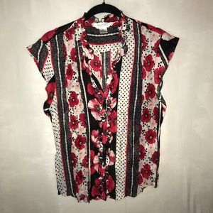 Blouse White Red Black Pink Floral Pleated
